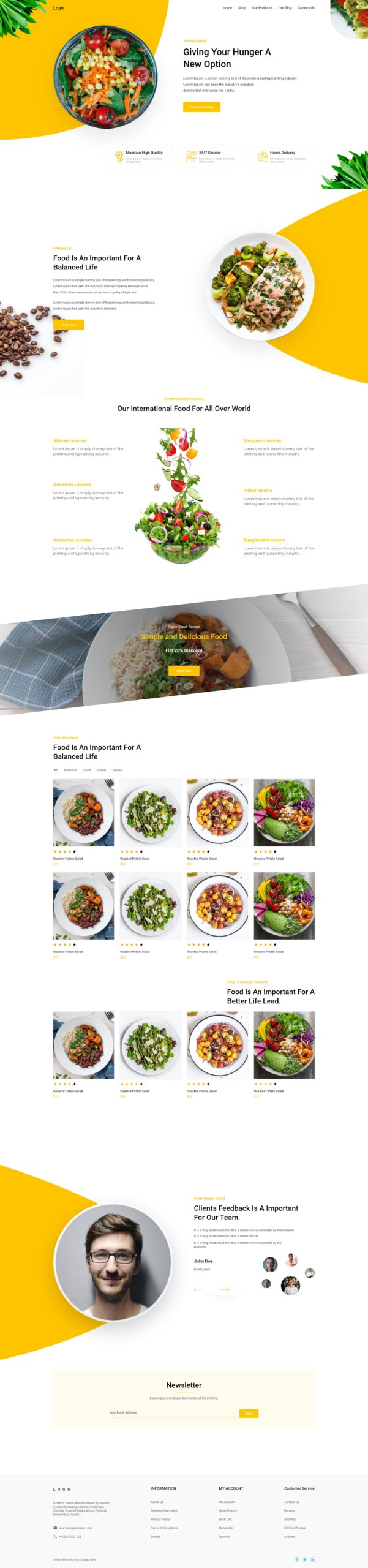 Fast Food Web Landing Page Template