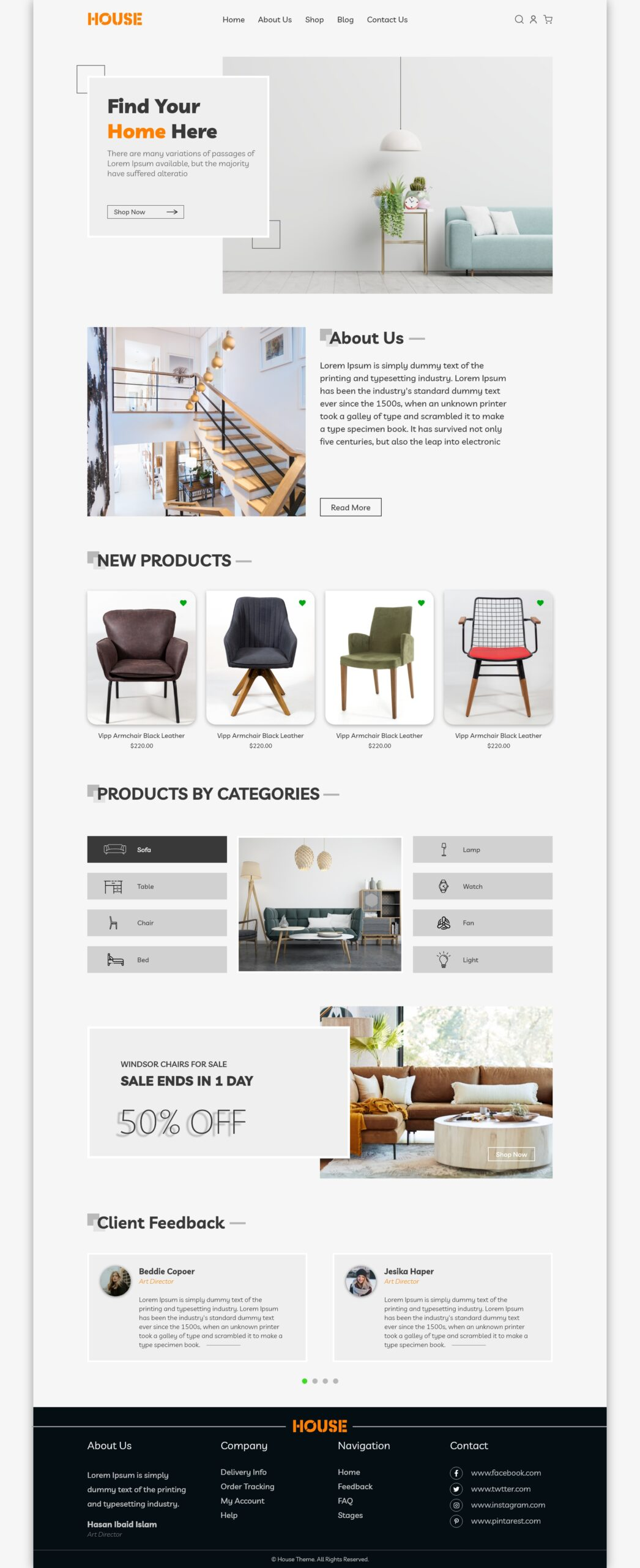 Furniture Landing Page Template Design