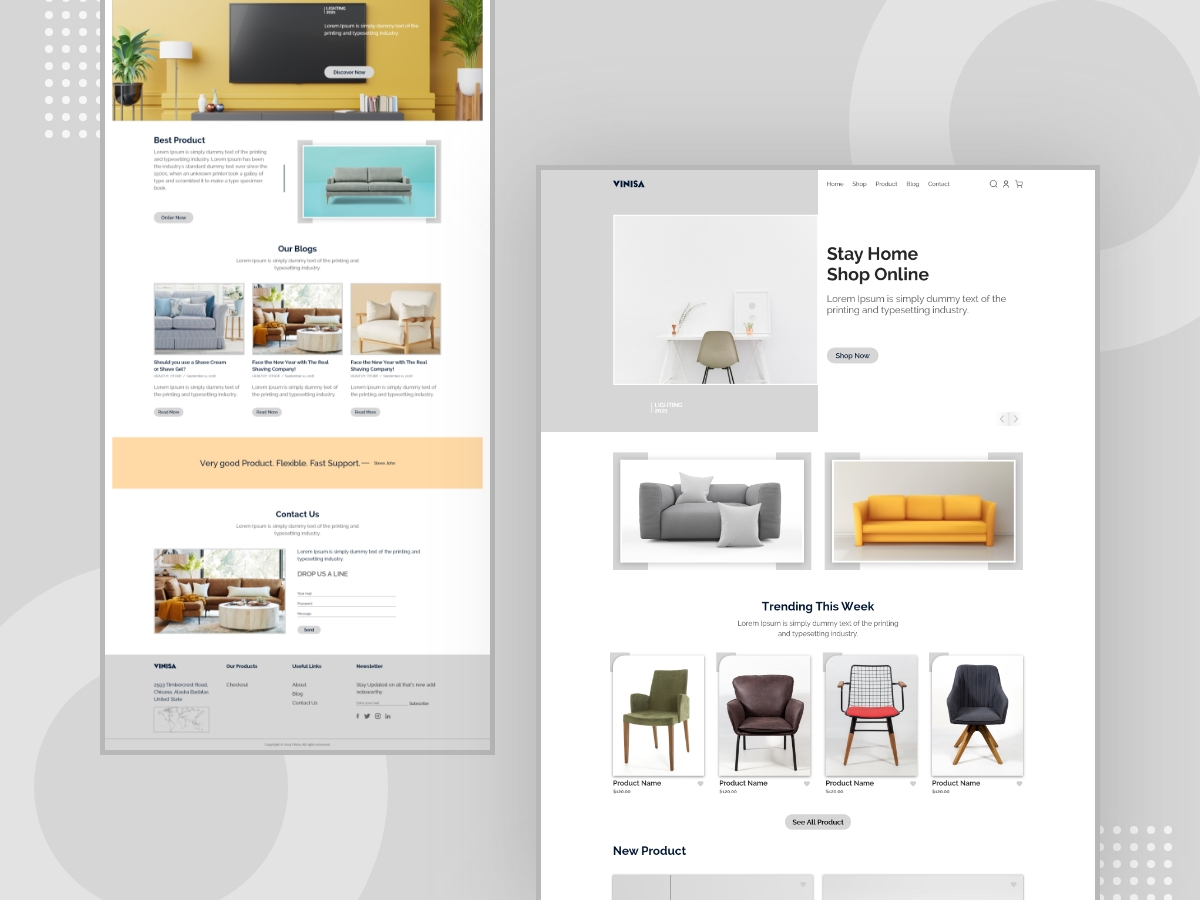 Online Furniture Shop Landing page Design Template Thumnail Image