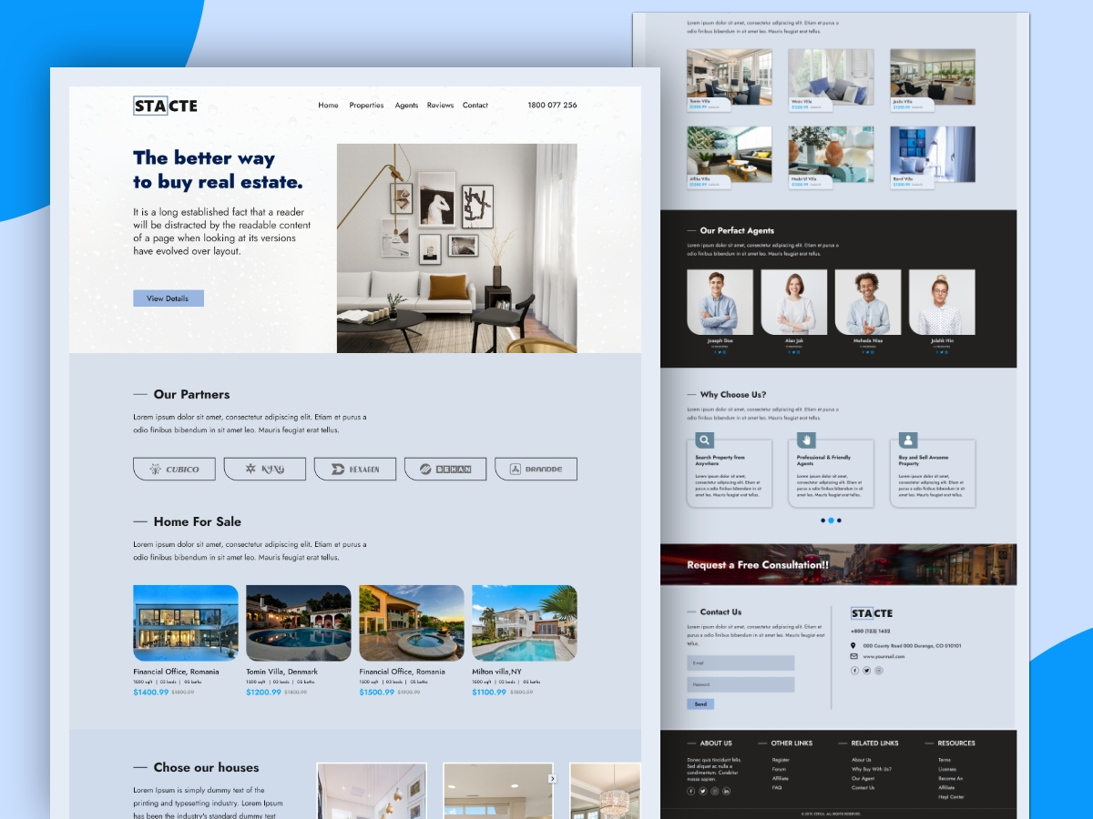 Real Estate Landing Page Template Design